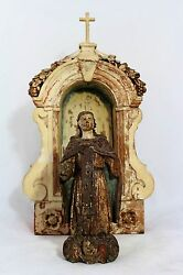 Antique 17th C. Wooden Satue Saint Anthony The Great Of Egypt And Retable Altar