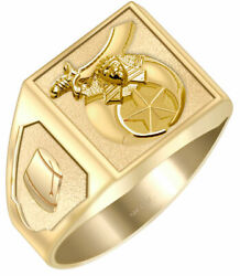 Customizable Solid Back 10k 14k Gold Masonic Shriner Ring Free Watch Included