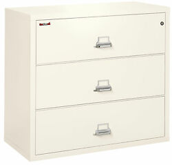 Ivory White 3 Drawer UL Class 350 1 hour fireproof Lateral 44