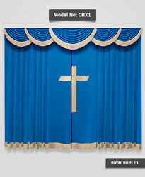 Saaria Church School Stage Event Hall Drapes Decor Velvet Curtains 10'W x 8'H