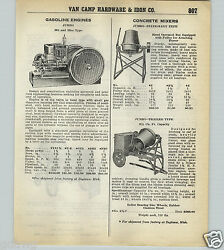 1939 40 Paper Ad Jumbo Hat And Miss Gas Gasoline Engine Concrete Mixer 2 4 Wheel