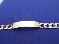 Id Bracelet In 14 K Solid Yellow Gold Curbed