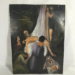 19th Century Mexican Retablo On Tin Double Sided Christ After The Crucifixion