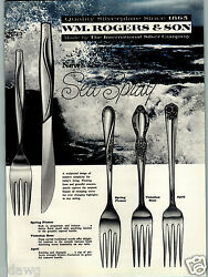 1959 Paper Ad Wm Rogers And Son Silverware Sea Spray New April Spring Flower Rose