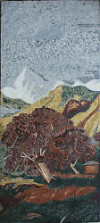 Mountain View Snow Big Tree Landscape Marble Mosaic Ls65