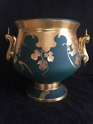 Pickard Rare Signed Coufall Punch Bowl Matte Green Etched Gold Grapes