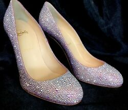 Louboutin Very Riche Aurora Pink Crystal Pump New Size 40