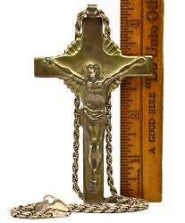 Vintage Sterling Silver Jesus On Cross Crucifix Pendant W/ 20 .925 Rope Chain