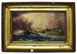 Antique Signed Framed Oil Painting S. Proutis, 1823 Ominous Shipwreck Nautical
