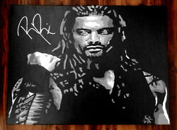 ROMAN REIGNS SIGNED 18x24 CUSTOM PAINTED CANVAS WWE THE SHIELD RAW ROLLINS PROOF