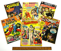 Vintage Comic Book Lot 6 Silver And Bronze Flash New Gods Wonder Woman Scooter ++