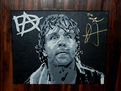 DEAN AMBROSE SIGNED 16x20 CUSTOM PAINTED CANVAS WWE THE SHIELD REINGS ROLLINS