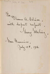 Volume From Thomas Edison's Library - Gifted By George Sterling - Rr Auction Coa