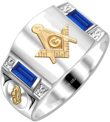 Custom Menand039s 925 Sterling Silver And 14k Gold Master Mason Solid Back Masonic Ring