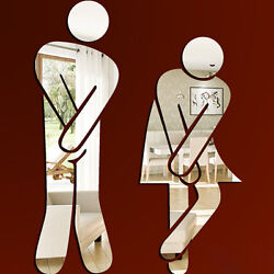 Toilets Carpeted Floor WC Male And Female Identity Mirror Wall Stickers