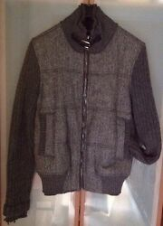 Dolce And Gabbana Mens 6500 Gray Fur/wool/leather Biker Jacket Sz. 48 Pre-owned
