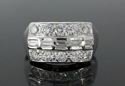 4250 Vintage 14k White Gold Round Baguette Diamond Cocktail Ring Band Size 7.5