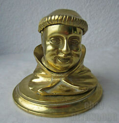 Rare Antique Vintage Figural Metal Inkwell Monk Head Ink Well / Pot / Stand