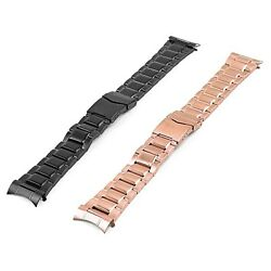 Strapsco Curved End Stainless Steel Watch Band Menand039s Metal Strap
