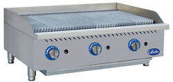 Globe Gcb36g-cr 36 Counter-top Natural Gas Charbroiler Cast Iron Radiant