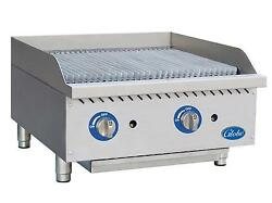 Globe Gcb24g-rk 24 Char Rock Counter-top Charbroiler Natural Gas Commercial