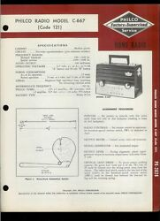 Factory Philco C-667 Code 121 Am Special Services Band Service/repair Manual