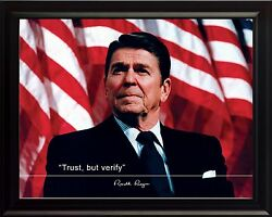 Ronald Reagan Trust, But Verify Quote Photo Picture, Poster Or Framed