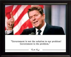 Ronald Reagan Government Is Not The Solution Quote Photo Picture Poster / Framed