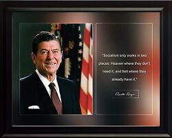 Ronald Reagan Photo Picture, Poster Or Framed Famous Historical Quote Socialism