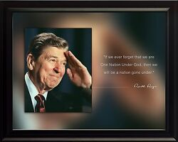 Ronald Reagan Photo Picture, Poster Or Framed Famous Quote If We Ever Forget..