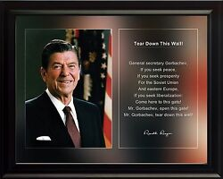 Ronald Reagan Photo Picture, Poster Or Framed Famous Quote Tear Down This..