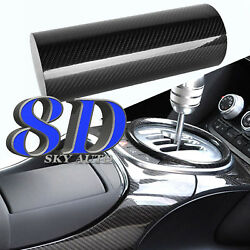 8d Black Glossy Carbon Fiber Vinyl Sheet With Air Release +free Tools2ft And Up