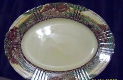 """Rare Myott Son And Co Hanley England's Countryside 10 1/2"""" Oval Serving Platter"""