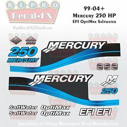 1999-04 Mercury 250hp Blue Decals Efi Optimax Saltwater 15pc Repro Outboard 2004