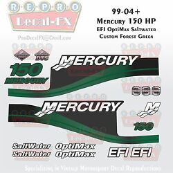 1999-04 Mercury 150hp Efi Custom Forest Green 15pc Repro Decals Outboard 2004