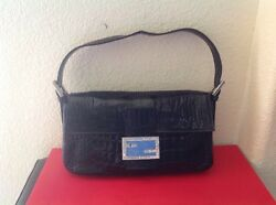 FENDI $12000 NAVY CROCODILE LIMITED EDITION CRYSTAL EVENING BAG PRE-OWNED ITALY