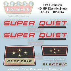 1964 Johnson 40hp Rds-26 Electric Start Seahorse Outboard Repro 6pc Decals