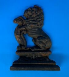 c.1795 Bookend Lion Antique Cast Iron Door Stop Collectible Folk Art Primitive