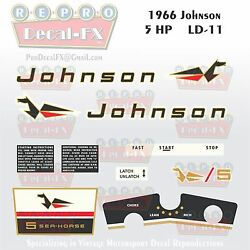 1966 Johnson 5hp Ld-11 Sea Horse Outboard Reproduction 11 Pc Marine Vinyl Decals