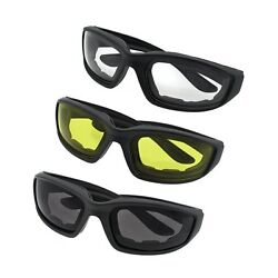 3 PAIR MOTORCYCLE RIDING GLASSES SMOKE CLEAR YELLOW FOR HARLEY DAVIDSON $11.87