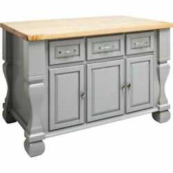 53 X 33.5 Gray Wood Kitchen Island Cabinet Traditional Antique Furniture
