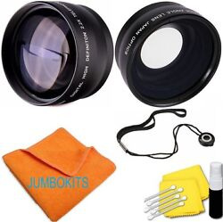 55mm Fisheye Lens + Zoom Lens + Cleaning Kit For Sony Alpha A550 A450 A290 A390