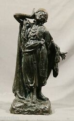 Bronze Of A Gypsy Girl Stamped Trivium Corriente 24.5 Great Posing