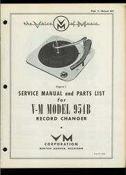 Rare Voice Of Music Vm Model 954b Record Player Changer Owner's Service Manual