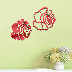 QT 0118 DIY Rose 3D Mirrored Decor Wall Stickers living room Home Decor Acrylic