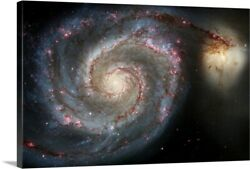 The Whirlpool Galaxy M51 And Companion Canvas Wall Art Print Outer Space Home
