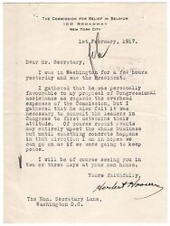 Herbert Hoover Typed Letter Signed - Meets Pres Woodrow Wilson Re Wwi Neutrality