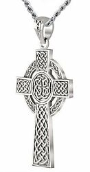 1.75in 11g Solid Back 14k White Gold Irish Celtic Knot Cross Pendant Necklace