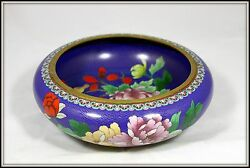 Stunning Hand Made Chinese Cloisonne Bowl Blue With Chrysanthemums 12 Dia