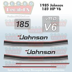 1985 Johnson 185 Hp V6 Sea-horse Outboard Reproduction 10 Pc Marine Vinyl Decals